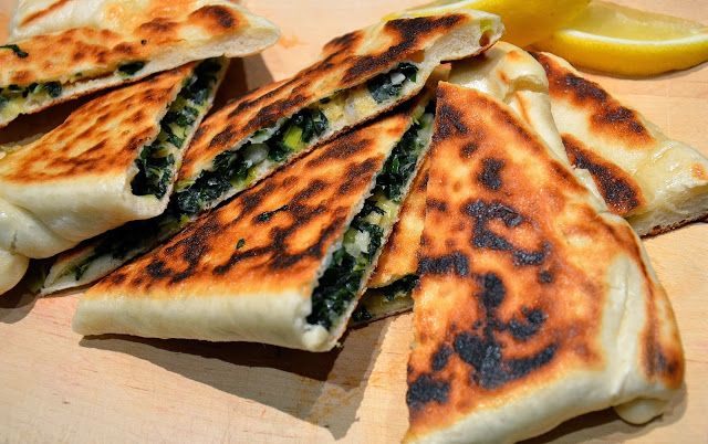 Gozleme with Cashew Feta and Silverbeet/Spinach (stuffed turkish flatbread)