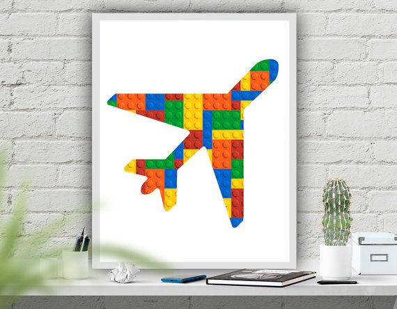 Vliegtuig afdrukbare kwekerij afdrukbare Art Print door ATArtDigital