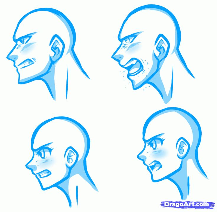 How To Draw Angry Faces, Anime Angry Face Step 1
