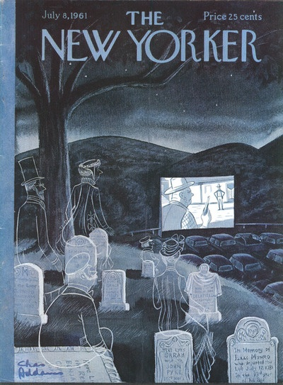 The New Yorker, July 8, 1961. Ghosts watching a film at a drive-in. Illustration: Charles Addams (image courtesy of Conde Nast).