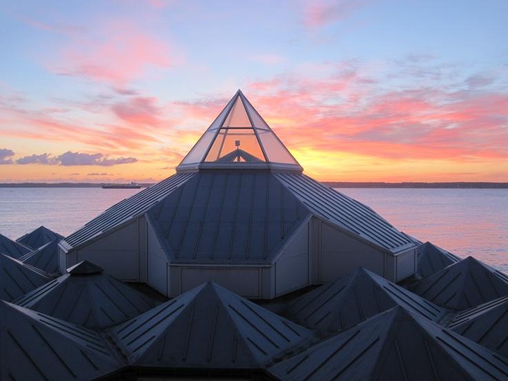 A beautiful sunrise from my balcony on Hotel Marienlyst, Helsingør, Denmark