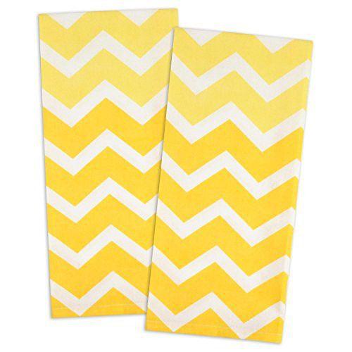 "DII 100% Cotton, Oversized, Low Lint, Everyday Kitchen Basic, Printed Chevron Dishtowel, Tea Towel, 18 x 28"", Set of 2- Yellow"