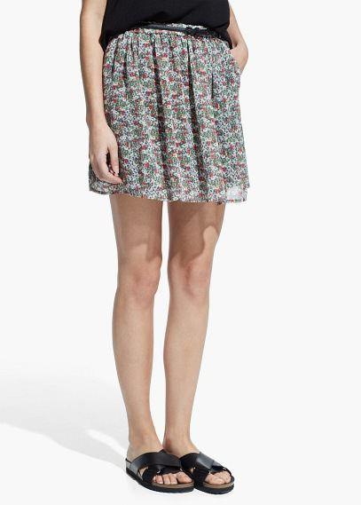 Falda estampada cinturón - Faldas de Mujer | MANGO Outlet España