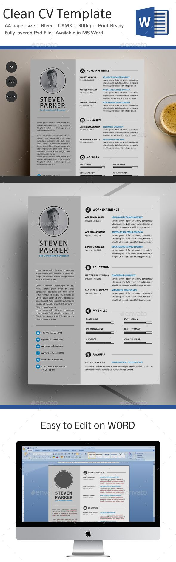 33 best CV images on Pinterest | Cv template, Design resume and ...