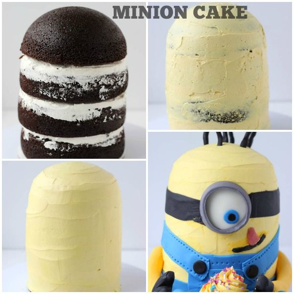 Step-by-step tutorial on making a minion cake. Using chocolate cake recipe, yellow vanilla buttercream frosting and fondant decorations to bring the minion to life.
