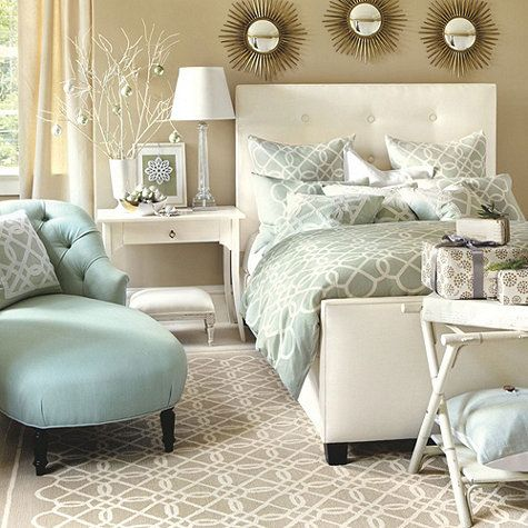 Quatrefoil Bedroom featuring the Quatrefoil Bedding, Geometric Hand Hooked Rug, Squire Upholstered Bed, Contessa Side Table, Luxembourg Tufted Chaise and Colette Glass Table Lamp from Ballard Designs