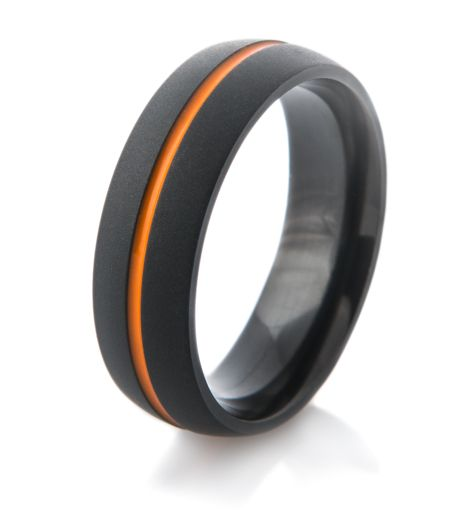 Would you wear something like this? Flat Black Wedding Band with Orange Inlay