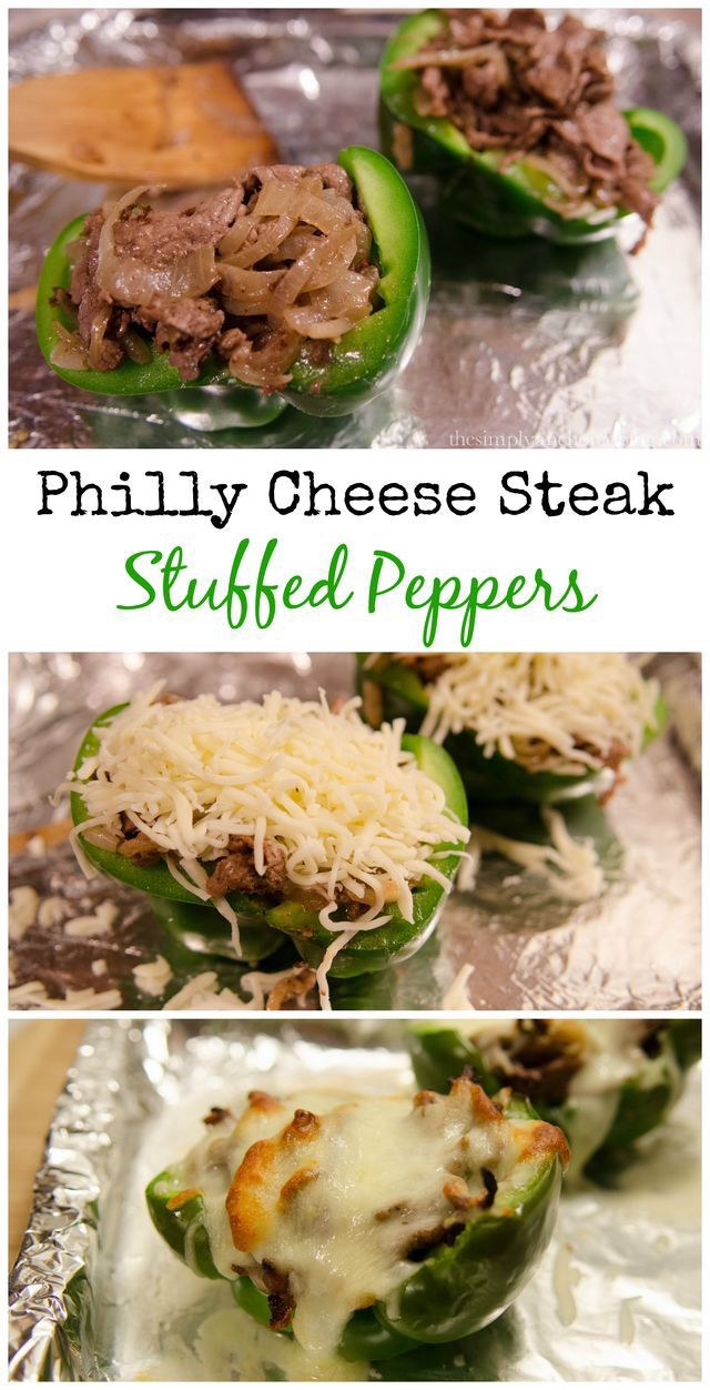 Healthy delicious Philly Cheese Steak Stuffed Peppers