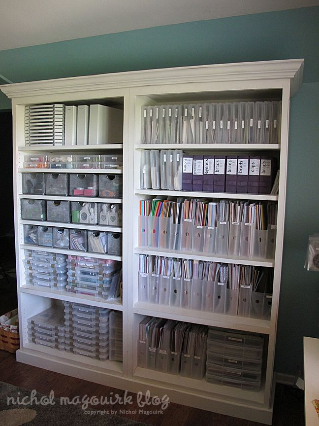 Put 2 book cases together w/ trim: Organizations Tips, Rooms Storage, Awesome Crafts, Crafts Rooms, Scrapbook Rooms, Crafts Storage, Crafts Studios, Paper Storage, Storage Ideas