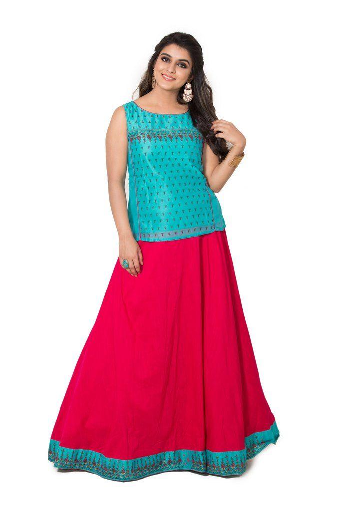 ded6521435 Maybell Women's Cotton Printed Skirt Set in Light blue   Skirt & Top ...