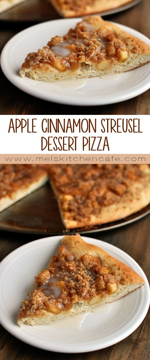This Apple Cinnamon Streusel Dessert Pizza is as good as any restaurant dessert pizza!