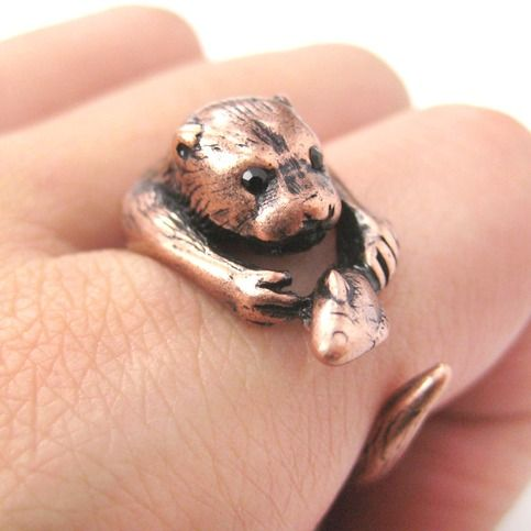 Otter With A Fish Animal Wrap Around Hug Ring in Copper - Sizes 4 to 9 from DOTOLY