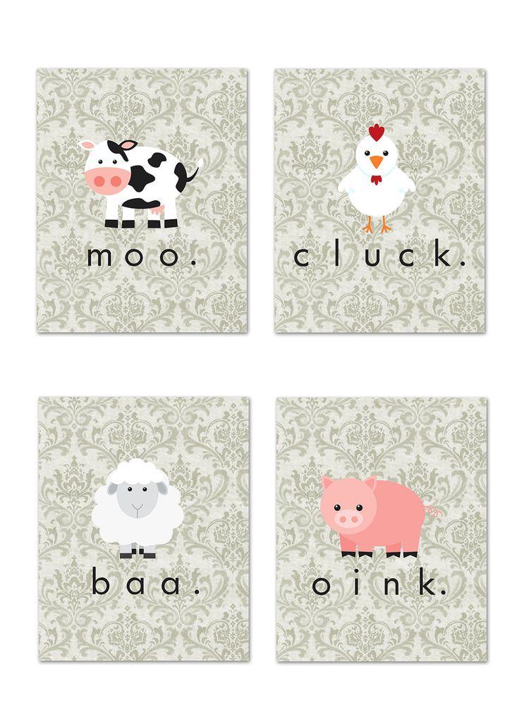 Adorable! Set of 4 5x7 art prints: Shabby Chic Farm Animals (nursery/child's room). via Etsy.