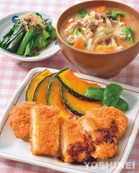 カジキマグロステーキカツ(そぼろおかず汁)(青菜のお浸し)|食材宅配のヨシケイ 夕食ネット(レシピ・メニュー・献立付き)