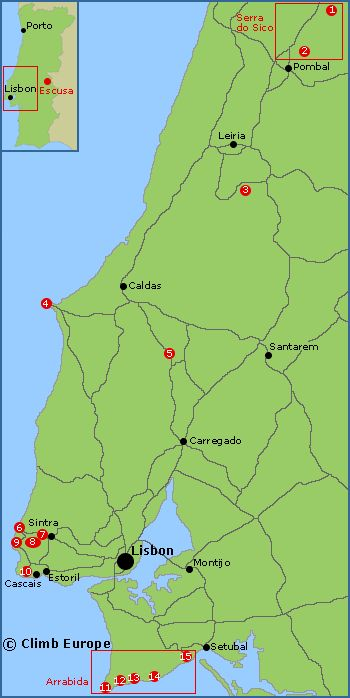 Map of the rock climbing, sport climbing and bouldering areas in Central Portugal