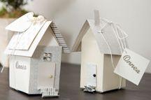 Taittele paperista herttainen pikkutalo, jonne piilotat esimerkiksi tupaantuliaisen. Malli: Essi Kurkinen. Ihana 2014/1.