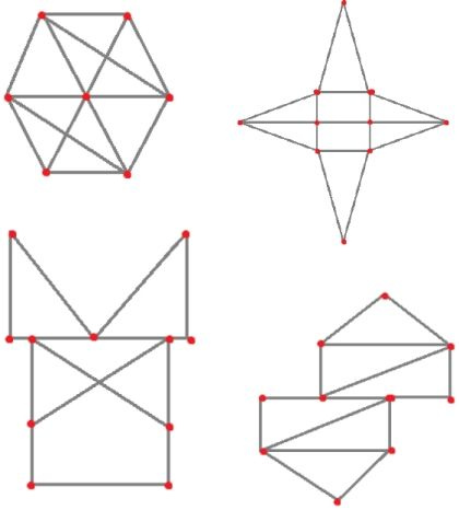 (0.-9.lk) Yhdellä kosketuksella piirto « OuLUMA – Pohjois-Suomen LUMA-toiminnan foorumi - Tehtävänä on piirtää kuvio kynällä yhdellä piirrolla, eli nostamatta kynää paperista ja menemättä samaa viivaa pitkin kahdesti. Ainoastaan punaisen pisteen kohdalla saa vaihtaa suuntaa.