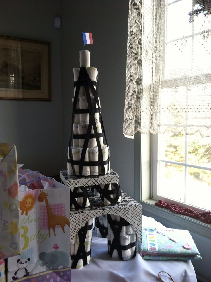 Diaper cakes, Eiffel towers and Diapers on Pinterest