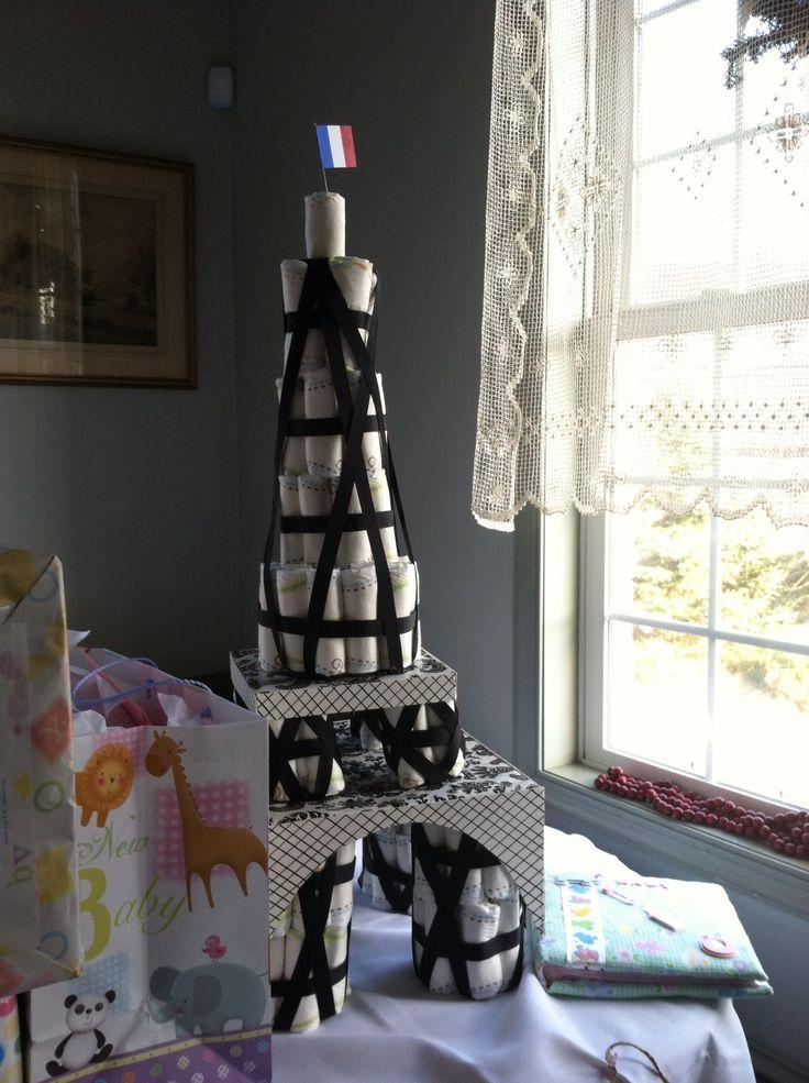 Paris Themed Baby Shower Eiffel Tower Diaper Cake | Baby ... |Eiffel Tower Diaper Cake