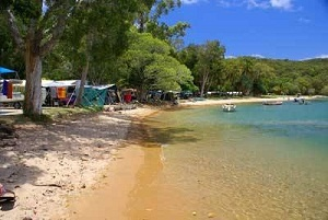 Beachfront camping in the town called 1770, in Queensland, Australia