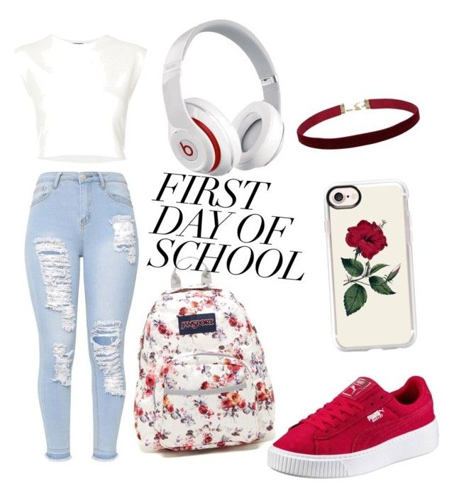 """""""first day of school"""" by lfumbani on Polyvore featuring JanSport, Casetify, Puma and Beats by Dr. Dre"""