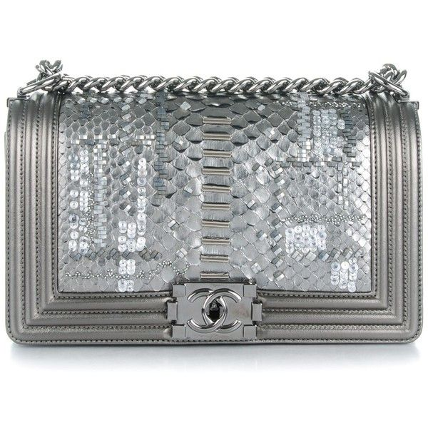 CHANEL Metallic Lambskin Embroidered Python Medium Boy Flap Silver ❤ liked on Polyvore featuring bags, handbags, clutches, beaded purse, chanel handbags, metallic handbags, metallic clutches and silver hand bag
