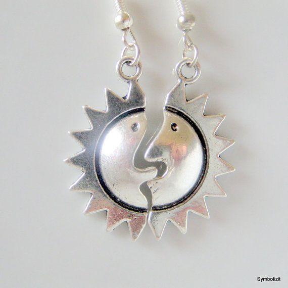 Silver Sun Earrings, Sun Charm Earrings, Sun Face Earrings, Sun Jewelry, Solar Earrings, Solar Jewelry, Sun Face Jewelry, Antique Silver