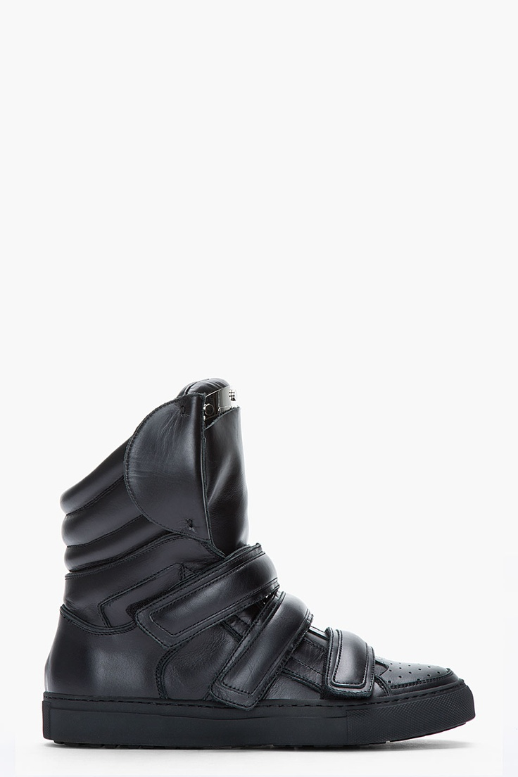 Dsquared2 Black Leather Shin Guard Sneakers for men | SSENSE