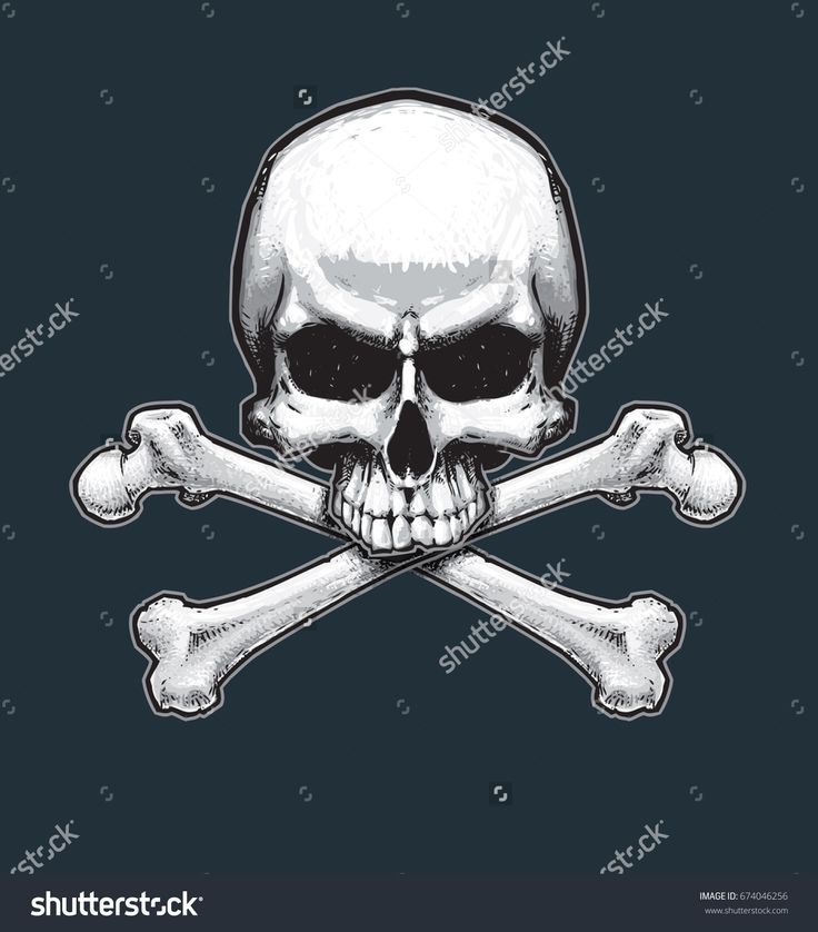 Vector illustration of the pirate flag sign, skull and crossbones. Skull, bones, drop shadow and Background neatly on separate well defined layers and groups.