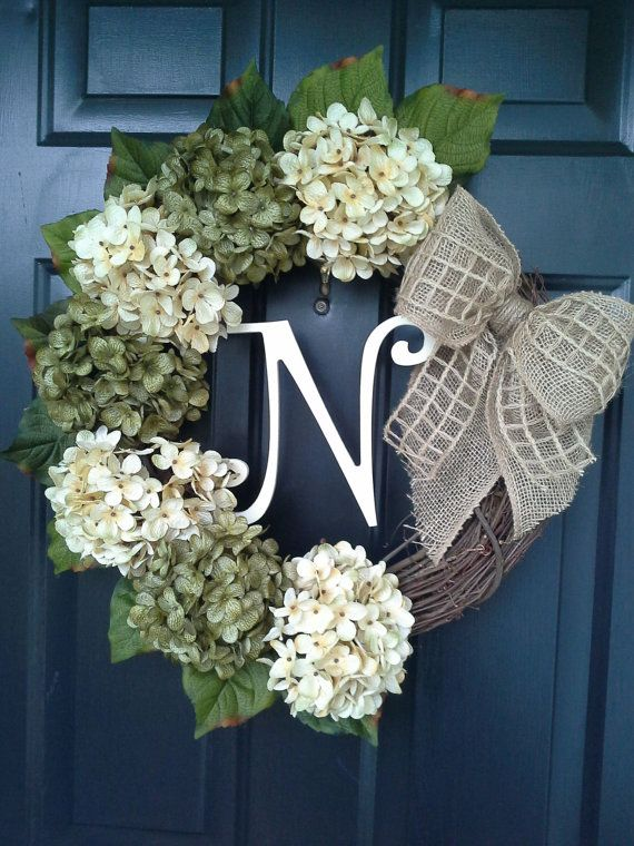 Front door wreath, hydrangea wreath, burlap wreath, grapevine, french country, burlap bow