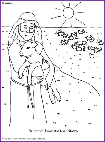 Jesus and the Lost Sheep, Coloring Page - Kids Korner - BibleWise