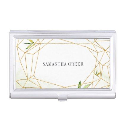 Terrarium | Geometric Botanical Personalized Business Card Case - gold gifts golden diy custom