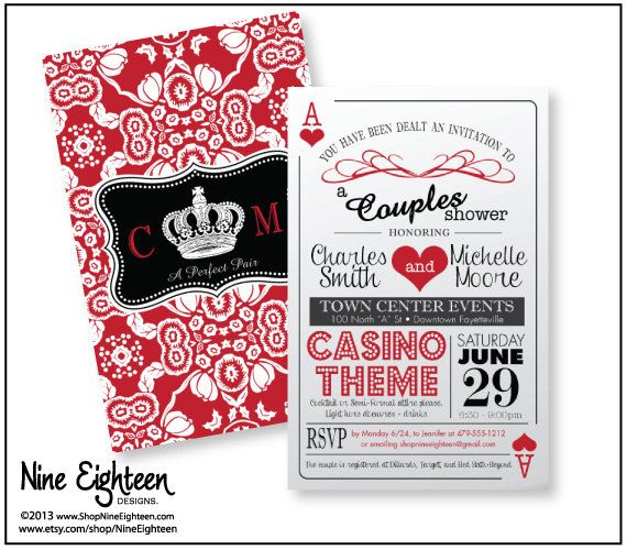 """Trendy """"Casino Theme"""" Couple's Shower Invitation, 2sided playing cards design, Printable Hi-Res PDF, fits 6x9 envelopes on Etsy, $21.00"""