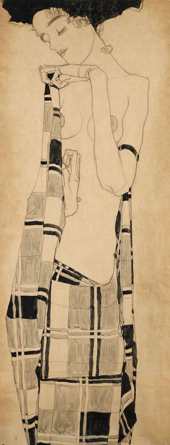 """Egon Schiele """"Gerti Schiele au drapé à carreaux"""" 1907"""