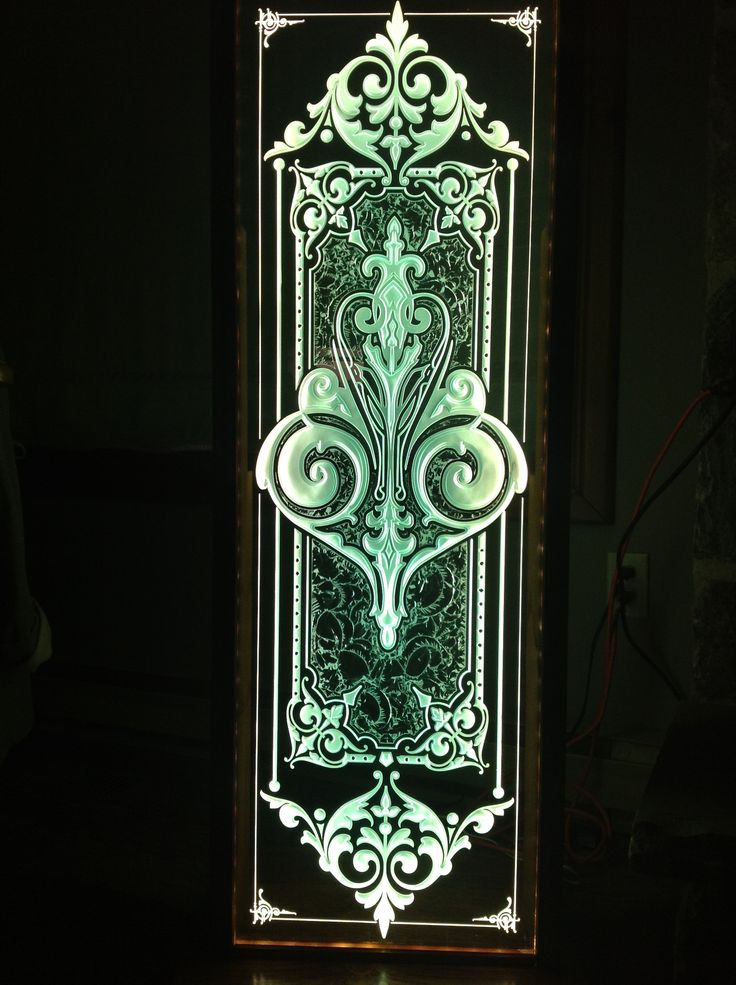 Living Room Lamps at night- glue chipping, sand carving on glass Wildwood Signs 519-364-1503 Ontario Canada