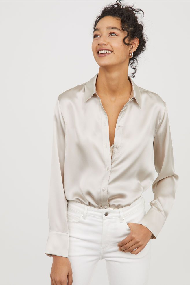 520bcc5e4a9 Silk Blouse in 2019 | Why I Wish I Was Rich | Blouse outfit, Beige ...
