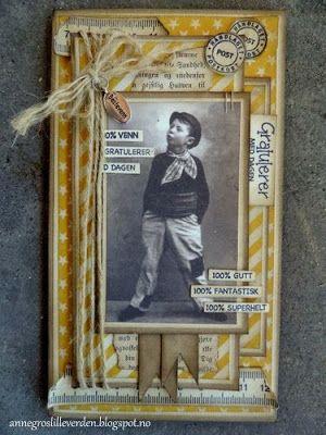 min lille scrappe-verden: Gult Retro kort til gutt (DT-bidrag fra Kort og Godt)