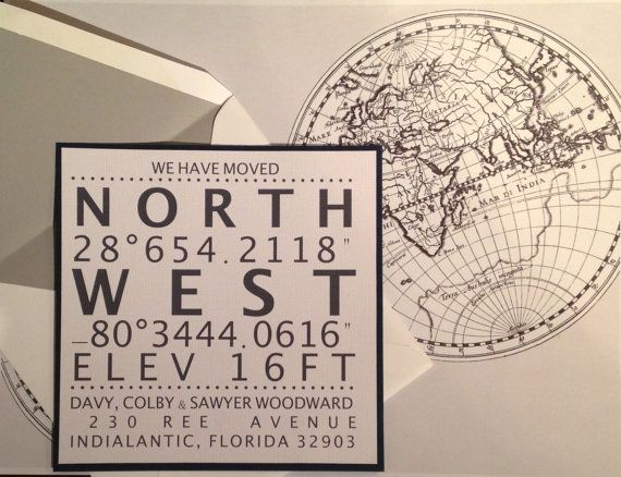"""""""New Coordinates""""….  we have moved!  A fun change of address announcement."""