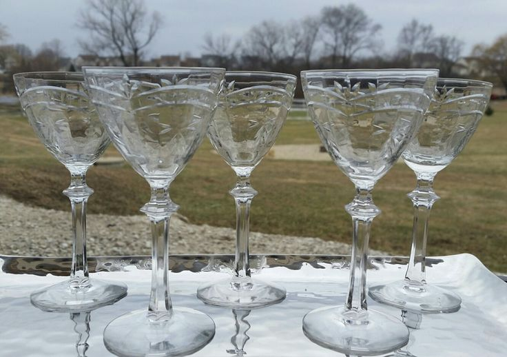Set of Five Elegant, Etched Optic Sherry/Liquor/Port Wine Glasses by RockyandPablo on Etsy