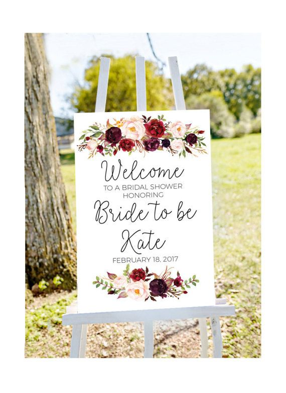 bridal shower welcome sign, Welcome to bridal shower sign, red bridal shower, red roses bridal shower, printable welcome, red floral shower