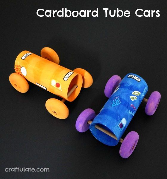 Cardboard Tube Cars - a fun craft for kids to make - and race!