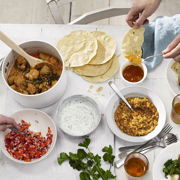 Create a fun sharing menu for your guests with our vegetable thali recipe. Serve with warm poppadoms and mango chutney for dipping, tomato and onion salad, yogurt and mint dip and Waitrose Tarka Dal. Read the full recipe on the Waitrose website.