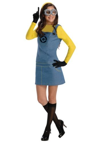 Women's Female Minion Costume throw on some fishnet stockings for a sexy minion or wear a purple top for a evil minion! Great group idea :) #halloween