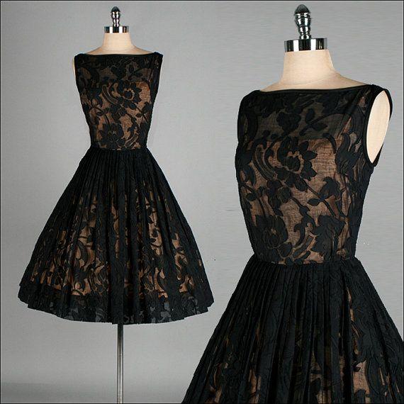 Vintage 1950s Dress  Sheer Black Cotton
