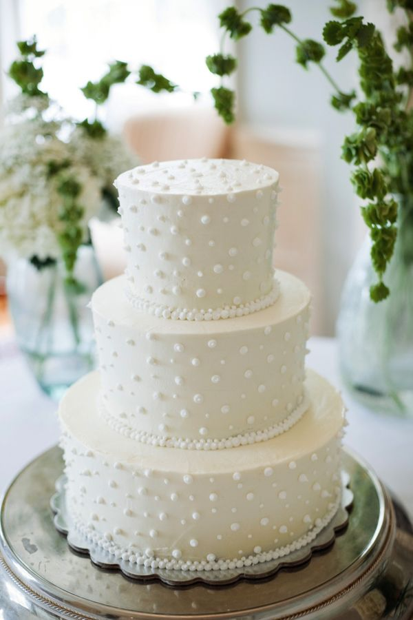 Southern wedding - white tiered wedding cake