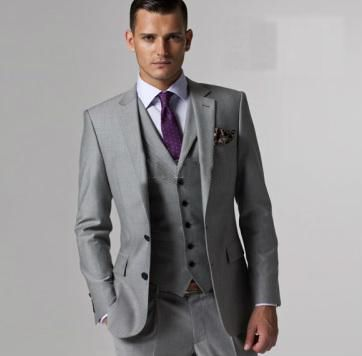 Groom + Grooms men - Purple tie, Silver vest - would prefer a black suit however