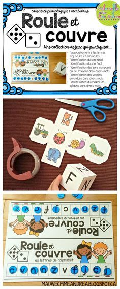 """16 different game boards to get your students practicing many phonological awareness skills! Use this simple, fun game during small-group time or as a literacy centre to help students practice : - associating upper- and lowercase letters - identifying beginning and ending sounds in words - identifying """"sons composés"""" and vowel sounds in words - counting the number of syllables in a word - building their French vocabulary Tout en français!"""