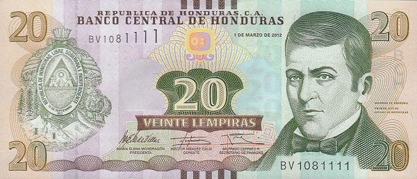 Matawang Honduras (20 Lempiras)