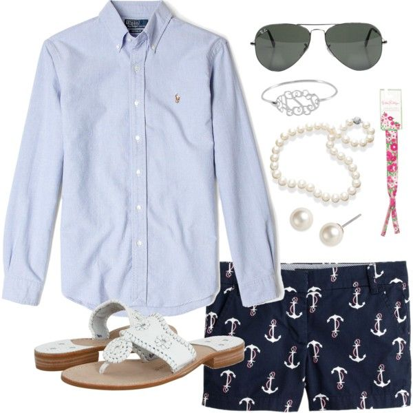 Anchor Shorts, created by classically-preppy on Polyvore