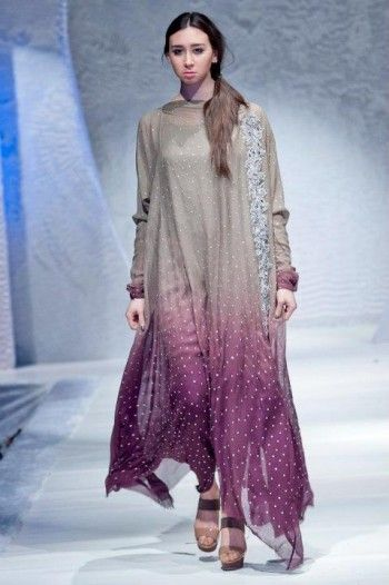 Buy pakistani dresses in usa | Grey/Magenta Tie & Dye Party Dress